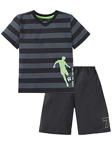 Schiesser Jungen Zweiteiliger Schlafanzug Fussball Knaben Schlafanzug kurz 156699, Gr. 104, Grau (grau