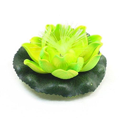 Gelb grün blinkend Schaum Lotus-Blumen-Anlage Dekor für Aquarium - Schaum-anlagen
