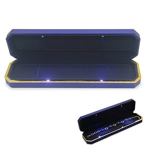 aveson Luxus Schmuck Aufbewahrungsbox Fall Organizer Halter mit LED-Licht, blau, Necklace Box - Fall Blaue Led