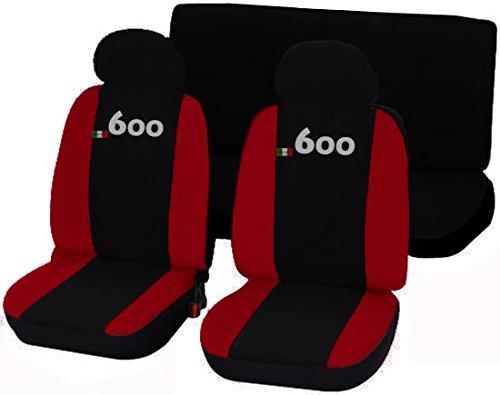 Coprisedili Fiat 600 bicolore nero - rosso