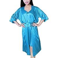 Internet_Mujer Sexy Encaje Color sólido Pijama Sexy Conjunto de Seda Hielo,Escotado Lace Lencería de