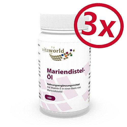 3er Pack Vita World Mariendistelöl 1000mg + Vitamin E 10mg 180 Kapseln Apotheker-Herstellung