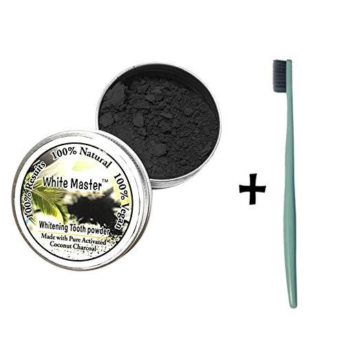 hahuha Schönheit sprodukte für Erwachsene, Zahnaufhellung Natürliches organisches Aktivkohle-Bambuspulver mit Zahnbürste (Kleber Fake-zähne Mit)