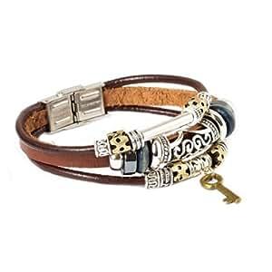 Fashion Plaza Key Design Leather Zen Bracelet for Men, Women, Teens, Boys and Girls -19cm- L7