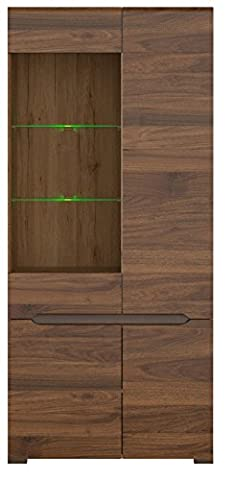 ELPASSO Brown And Oak Wardrobe,Display , Oak Body 4-door ,Glass Height: 200 cm