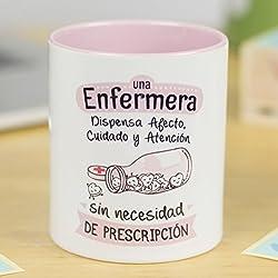La Mente es Maravillosa | Taza cerámica de café o desayuno | Regalo para la mejor ENFERMERA | Una enfermera dispensa afecto y atención sin necesidad de prescripción | RESISTENTE 100% al microondas y lavavajillas | Taza con mensaje para profesional | Taza con frase de motivación | BONITA y EXCLUSIVA | esmaltado especial brillante de GRAN CALIDAD | Frases y dibujos creativos grabados en la superficie | perfecto para cualquier bebida, infusión o té | Enfermera en color rosa