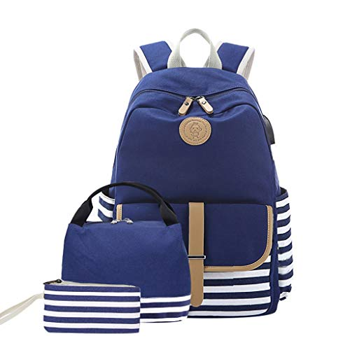 Dasongff School Backpack Girls Bookbag Teens School Bags Student Backpack 3 in 1, Laptop Backpack + Lunch Box + Pencil Case, Canvas Stripe Backpacks mit USB