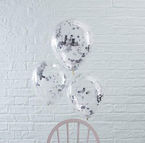 Ginger Ray Festliche Konfetti-Ballons 5 Stück transparent-Silber 30cm