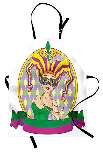 Soefipok Karneval-Schürze, Harlekin-Dame-Cartoon-Art-Kreisrahmen-Checkered-Muster-Bänder, Unisexküchen-Latzschürze mit justierbarem Hals für das Kochen Backen-Gartenarbeit, purpurrotes gelbes Grün