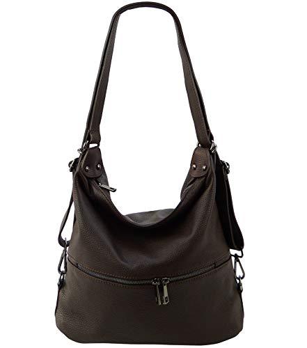Freyday 2in1 Handtasche Rucksack Designer Luxus Henkeltasche aus 100% Echtleder (Dunkelbraun) -
