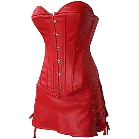Corsetti occidentale Palace zipper cuoio corsetto corsetto corsetto in pelle ladies corsetto corpetto , red , m - Bag Corpetto