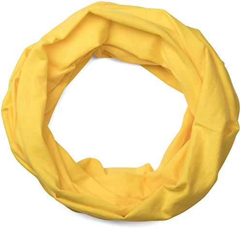 Stylebreaker foulard multifunzione in jersey, sciarpa scaldacollo, fascia frontale, fascia per capelli, foulard copricapo, sciarpa ad anello, unisex 01012037, colore:giallo