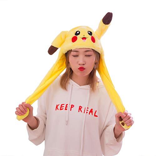 Kostüm Hut Pikachu - BDFA Lustige plüsch Pikachu Hut, Ohr beweglichen springenden Hut, Cosplay kostüme zubehör Kappe plüschtier