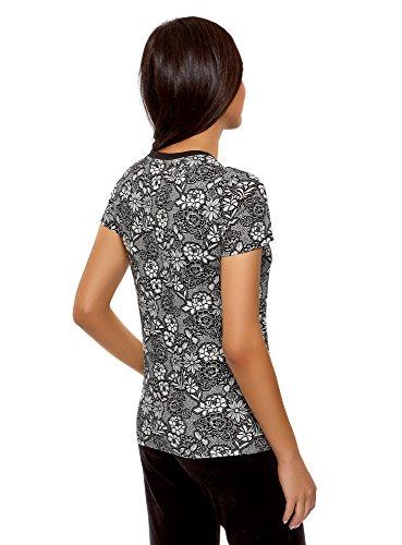 oodji Ultra Donna T-Shirt Stampata con Scollo Rotondo Nero (2912F)