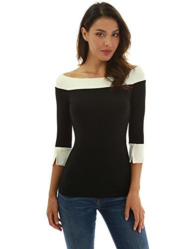 Saum U-boot-ausschnitt (PattyBoutik Damen Kontrastfarbe 3/4 Ärmel Bluse (schwarz und eElfenbein M 40))