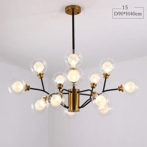 Nordic Kreative Moderne LED 9/12 / 15Lights Eisen Kronleuchter Deckenleuchte, Runde Glas Lampenschirm Gold + Schwarz Anhänger Leuchte für Schlafzimmer Wohnzimmer-15armsD90cm*H40CM -