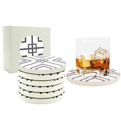 6 Stück Untersetzer Gläser Getränkeuntersetzer Set aus Keramik Kork für Glas, Tasse, Vasen, Kerzen, Becher, Kaffee, Bier Tisch Bar Tolles Deko und Geschenk für Weihnachten Geburtstag Einzug Lila (Lila Becher Tasse)