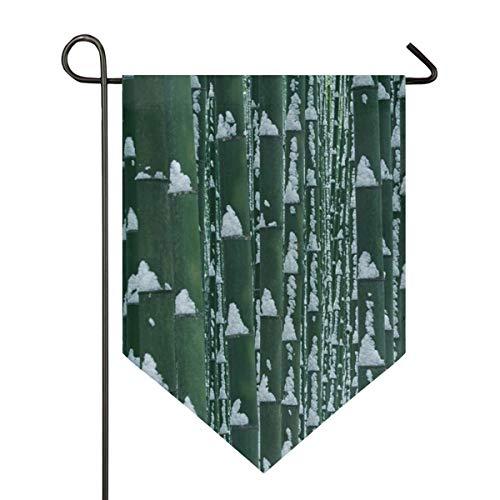 AMONKA Winterflagge aus Bambus mit Schneeflocke, doppelseitig, Polyester, Hofflagge für Haus und Außendekoration, 30,5 x 45,7 cm, Polyester, Multi, 12x18.5 Inch