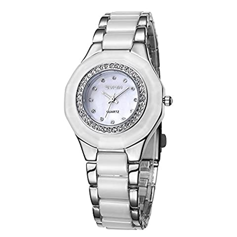 WEIQIN Alloy and Plastic Strap Womens Watch with Rhinestone Bezel and Rhinestone Scale Shell Surface Quartz (Silver White)