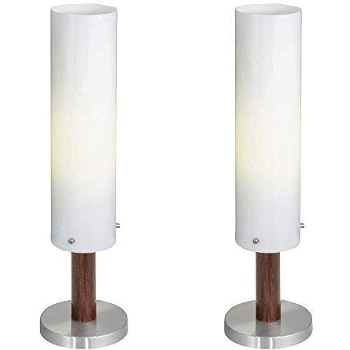 2er Set Outdoor Steh Stand Lampe Leuchte IP54 antik-braun weiss Edelstahl