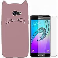 Hcheg Case Cover 3D en silicone pour Samsung Galaxy A3 (2016) Cat Design Rose Case Cover + 1X Protecteur d'écran