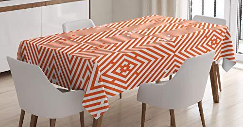 ABAKUHAUS Burnt orange Tischdecke, Bullseye-Raute, Für den Inn und Outdoor Bereich geeignet Waschbar Druck Klar Kein Verblassen, 140 x 170 cm, Dunkelorange und Weiß