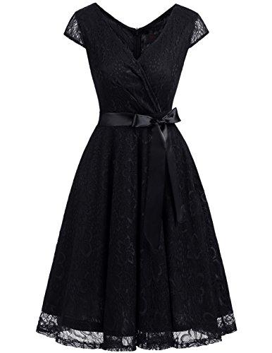 53de4a035f1d Dresstells Donna Vintage Vestito Pizzo Casual Cerimonia Manica Corta Vestiti