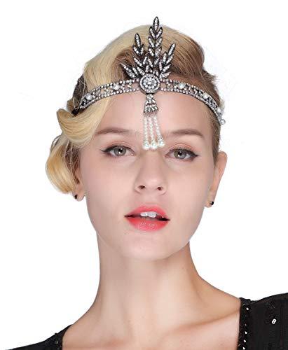 FAIRY COUPLE Art Deco 1920er Flapper Great Gatsby Blätter Braut Tiara Perlen Kopfstück Stirnband (Schwarz)