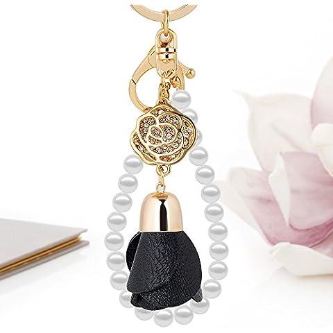 Creative flor de cuero hechos a mano accesorios coche key ring señoras bolso llaveros colgantes joyas