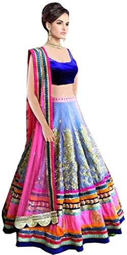 Attire Design Women\'s Net Blue Lehenga Choli (MDL13-Morli blue)