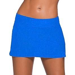 ZiXing Donna Pantaloni da Nuoto Gonna, Gonna da Bagno Donna con Pantaloncino Costume Pantaloncini Tinta Unita Pantaloncini da Nuoto