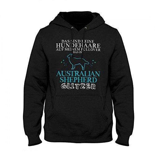 Fashionalarm Herren Kapuzen Pullover - Das sind Keine Hundehaare - Australian Shepherd Glitzer | Fun Hoodie Spruch Geschenk Idee Hunde Besitzer, Farbe:schwarz;Größe:XS Australian Shepherd Sweatshirt