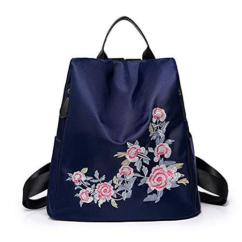 WYJSS National Wind Stickerei Blume Rucksack große Kapazität Tasche UmhängetascheFashion Retro Wild Lady Handtasche Reisetasche,Blue-OneSize - Womens Blue Jelly