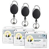 Vicloon Ausweisjojo, 3 PCS Schlüssel JoJo Ausweis JoJo mit Ausweishülle Ausweishalter mit Extra Starker Feder und reißfester Schnur mit Gürtelclip für Kartenhalter, Schlüsselkarten