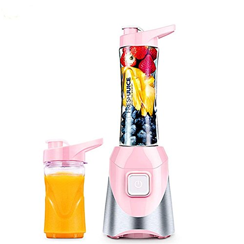 DRM Fruit Mini Juicer Machine,Juice Cup,Stainless Steel,Fully Automatic,Fruit Mixing Machine Personal Portable Electric Mixer Smoothie Fruit Vegetable Home -Pink 39.2X13.5X14.5Cm(15X5X6Inch)