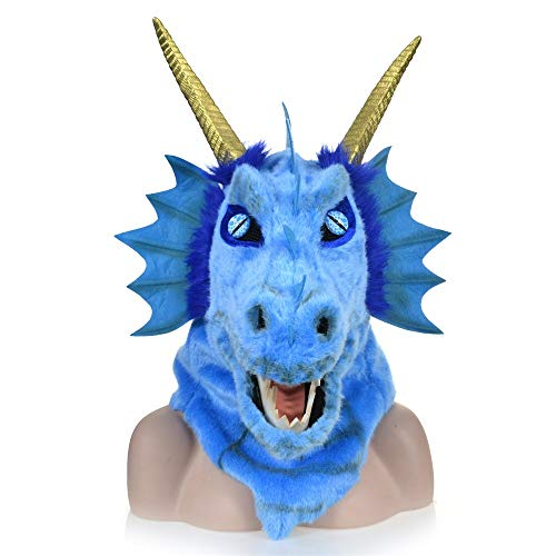 Furry Kostüm Blaue - OYWNF Furry Dragon Head Maske mit beweglichem Mund, Halloween Party Dekoration Kostüm Masken (Color : Blue)