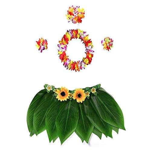 5pcs Hawaii Kostüm Set Blatt Hula Rock Hawaiian Leis Party Strand Zubehör für Kinder und Erwachsene