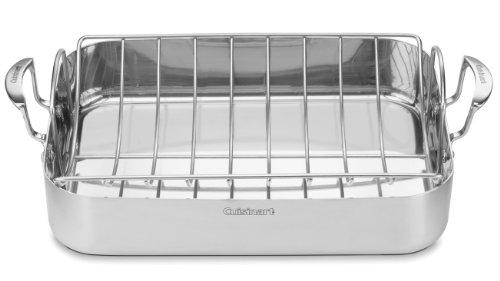 Cuisinart MCP22-24N MultiClad Pro Bratpfanne, Edelstahl Rechteckiger Bräter mit Gestell 16 inches silber