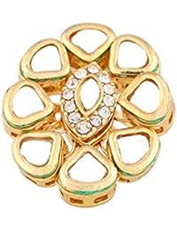 Traditional & Ethnic Gold Plated Kundan Finger Ring For Women (Adjustable, Golden)
