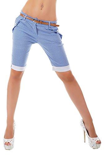 Unbekannt - Pantalón Corto - Capri - Lunares - para Mujer Azul S