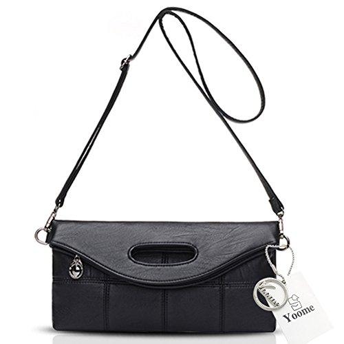 Yoome Women's Große Kapazität Pendant Weiche Leder Geldbörsen Handtaschen Für Frauen Umschlag Tasche Clutch - Grau Schwarz