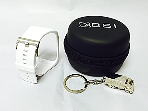 BSI Set 1pc White Replacement Band With BSI Black Carrying Leather Case For Samsung Gear S Smart Watch Smartwatch Wireless + Free Silver Metal Truck Keychain with BSI(TM) LOGO