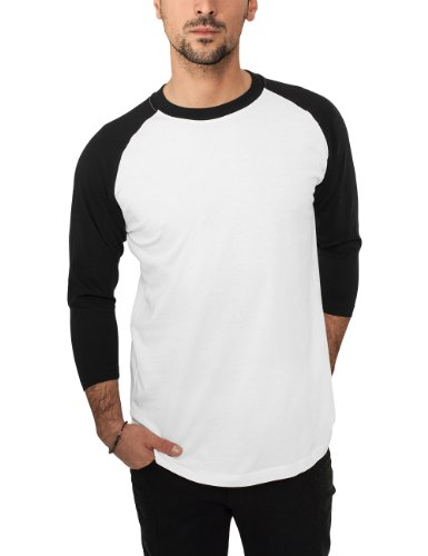 Urban Classics - Bekleidung T-Shirt, Maglia a maniche lunghe Uomo, Multicolore (Wht/blk), Medium (Taglia Produttore: Medium)
