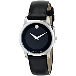 Movado Women's Museum 28mm Black Leather Band Steel Case Sapphire Crystal Quartz Analog Watch 0606503