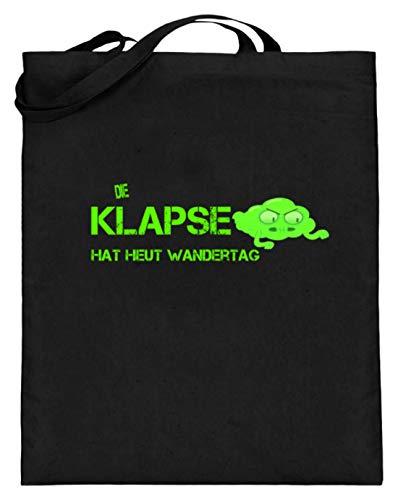 SPIRITSHIRTSHOP Die Klapse Hat Heut Wandertag. - Klapsmühle, Psychiatrische Anstalt, Irrenhaus, Irren - Jutebeutel (mit langen Henkeln) -38cm-42cm-Schwarz