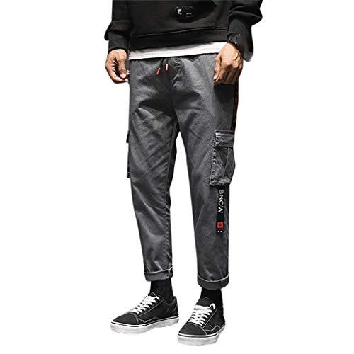 ODRD Herren Tactical Pants Workout JeansMens Casual Baumwolle Reine Farbe Elastische Taille Taschen Lose Jeans Hose Jogging Pants Jogginghose Sweatpants Sport