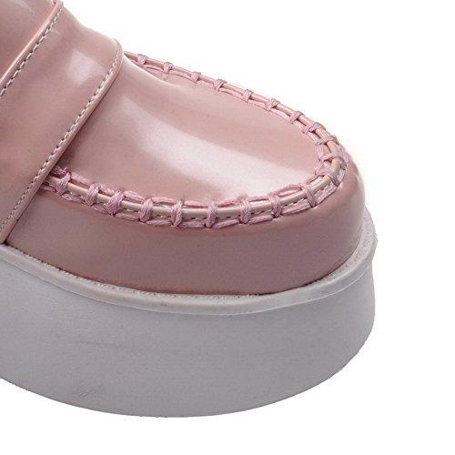 AllhqFashion Femme Verni Rond à Talon Correct Tire Couleur Unie Chaussures Légeres Rose