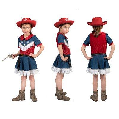 De Cowboy Fille Kostüm - Pierros Karnevalshop 'Kostüm Cowboy Amerika Mädchen, 7 - 8 Jahre'