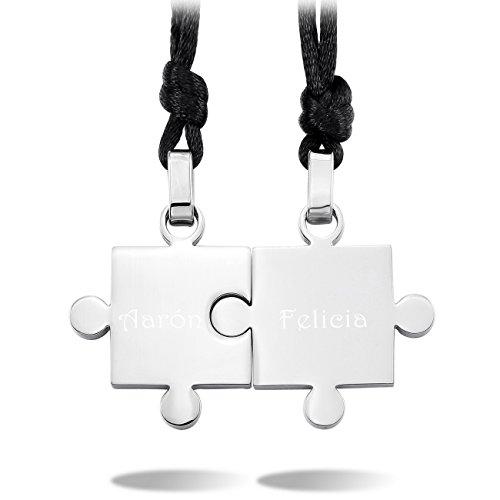 MeMeDIY 2 Pieza El Tono De Plata Acero Inoxidable Colgante Collar Rompecabezas Pareja Conjunto Set Ajustable Cadena - Grabado personalizado