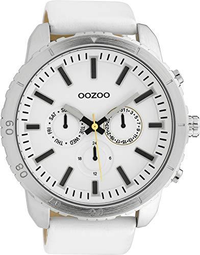 Oozoo Herrenuhr mit Lederband 50 MM Weiss/Weiss C10059